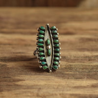 Green Turquoise Size 5 3/4 (Tight Size 6)  Multistone Zuni ring