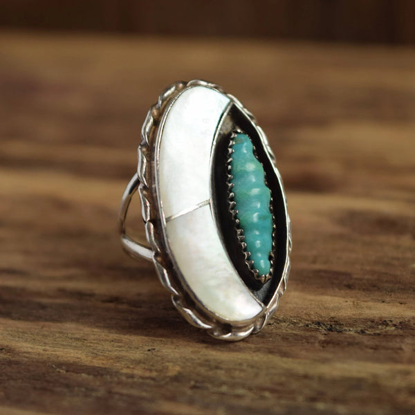 Mother of Pearl and Carved Turquoise Ring by Florentine Panteah Zuni Native American Signed F. Panteah