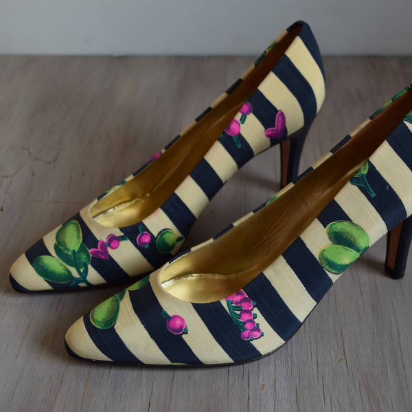 Size 8.5 Navy Striped Fruit Heels - NOS by Bally