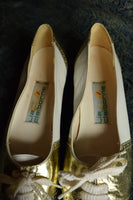 Gold and White Oxford Style Vintage Low Heels