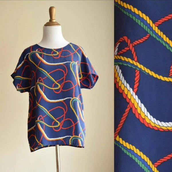 Navy Blue Nautical Rope Blouse 1980s