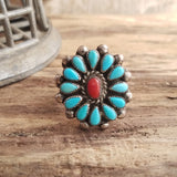 Turquoise and coral native american cluster ring size 9