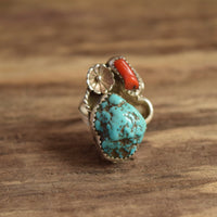 Size 7 Turquoise nugget and coral southwestern ring