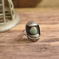 Feather Turquoise Shield Ring Size 8