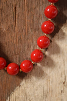 Cherry Red and Gold Holiday Party Necklace - Monet 18 inches