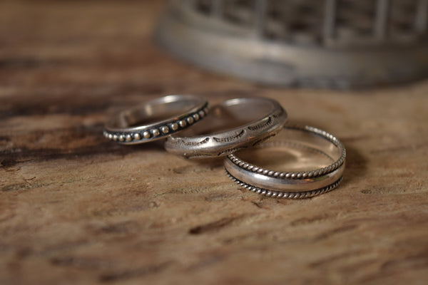 Sterling Silver Band Ring -  Southwestern Thumb Ring