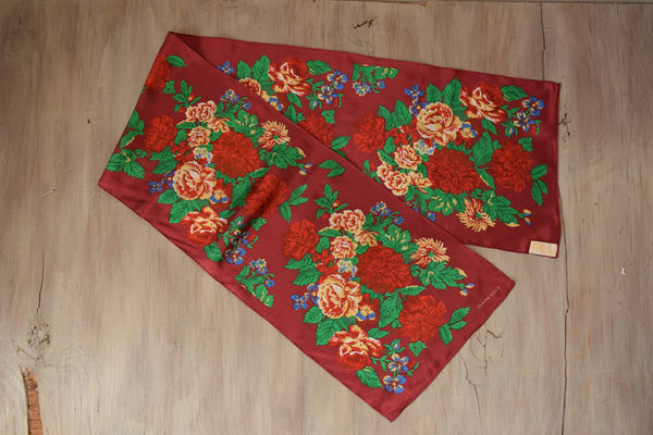 Maroon Silk Scarf - Vintage Rose and Floral Pattern