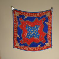 Red and Blue Silk Scarf - Astrological and Nautical