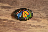 Oval Russian Peacock Brooch - Black Hand Painted Lacquer Pin