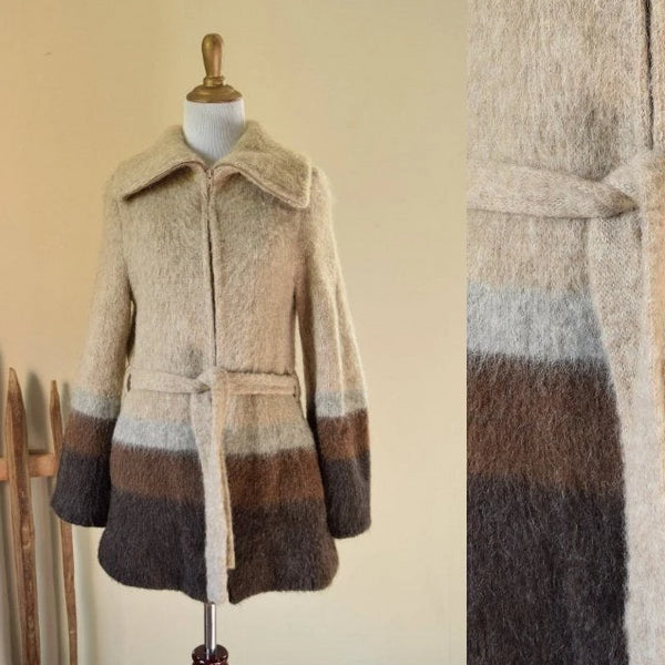Belted Wool Coat - Small 1970's Ice Wool Neutral Coat - Made in Iceland