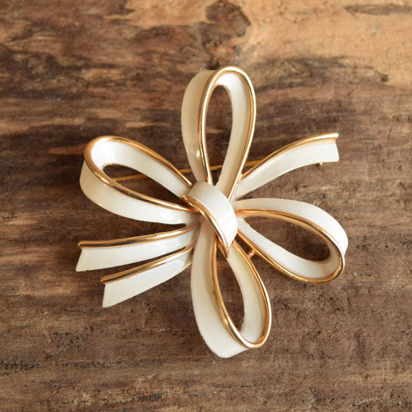 White & Golden Bow Brooch - Vintage Crown Trifari
