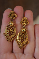 Ornate Gold Toned Dangle Clip On Earrings - 1970's Celebrity Jewels