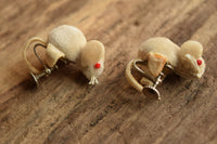 Mouse Screw Back Earrings - Red Eyed Novelty Mice