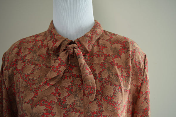 Red and Brown Bow Floral Pendleton Blouse
