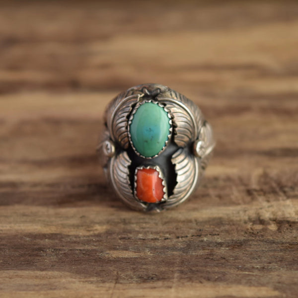 Sally Yazzi Navajo Turquoise and Coral Ring in Sterling Silver Size 9