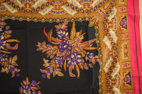 Purple Floral Square Silk Scarf Gold Paint  by Oscar de la Renta - NEW OLD STOCK