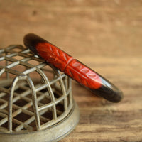 Overdyed Bakelite Bangle Carved Red and Black