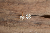 Small White Daisy Earrings Gold Toned