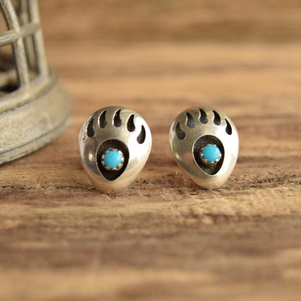Bear Claw Shadow Box Earrings - Turquoise & Silver