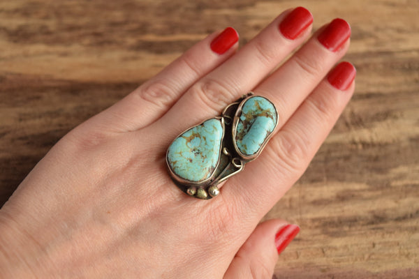 Large Dual Turquoise Ring Size 7.5