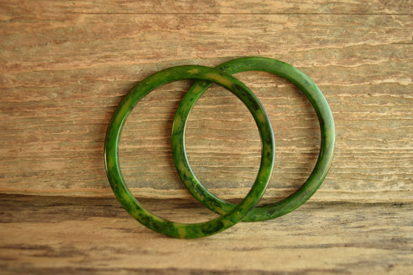 Green Bakelite Bangle Thin  Spacer Marbled Pair