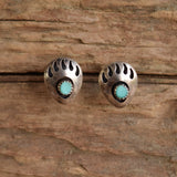 Small Bear Paw Shadow Box Earrings - Turquoise & Silver