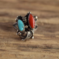 Size 9 Signed Native American Navajo Ring Turquoise and Coral Sterling Silver