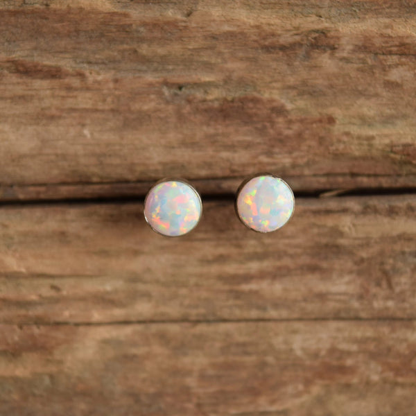 Simple Round Opal Stone Studs in Silver