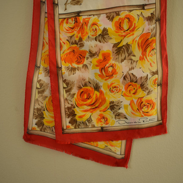Vintage Rectangle Spring Silk Scarf  - New Old Stock Oscar de la Renta