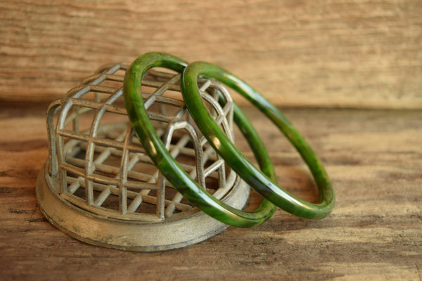 Green Marbled Bakelite Bracelet Set - Pair of Swirled spacer Bangles