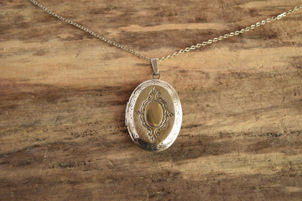 Silver Oval Locket Necklace