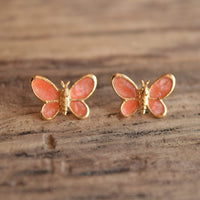 Coral Pink Butterfly Stud Earrings