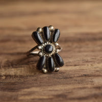 Bill & Lou Zuni Black Cluster Ring Size 6