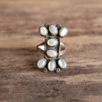 Mother of Pearl Cluster Ring Native American Size 8