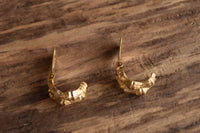 Golden Bamboo Hoop Clip On Earrings