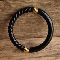 Black Spiral Bangle with Gold Toned Accents - Trifari