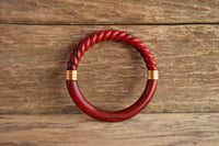 Red Spiral Marbled Bangle by Trifari