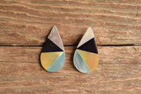 Teardrop Inlay Stud Earrings