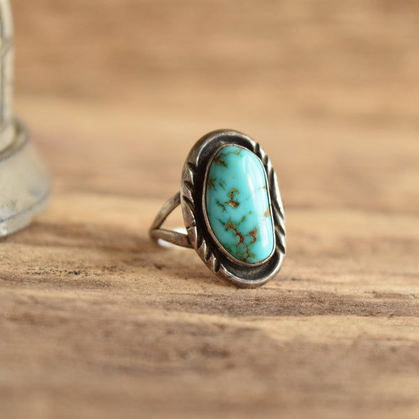 Navajo Vintage Turquoise Ring Size 6