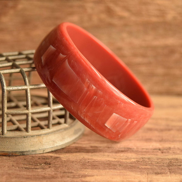 Blood Orange, Dark Coral Plastic Bangle