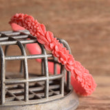 Thin Coral Celluloid Floral Bangle