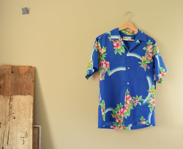 Blue Hawaiian Shirt - Medium