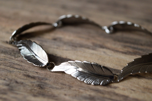 Silver Toned Feather Bracelet