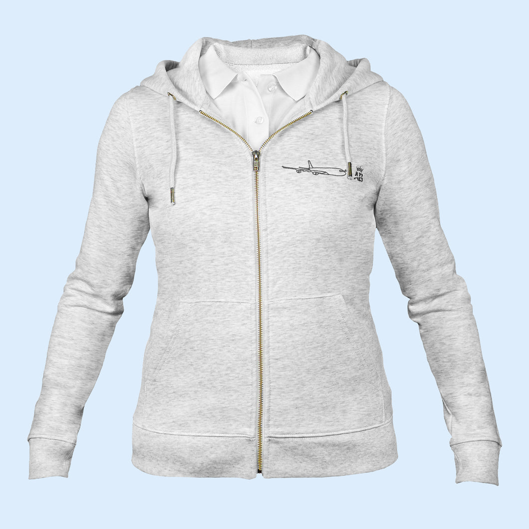 The iconic Air Belgium women's zip-thru hoodie sweatshirt