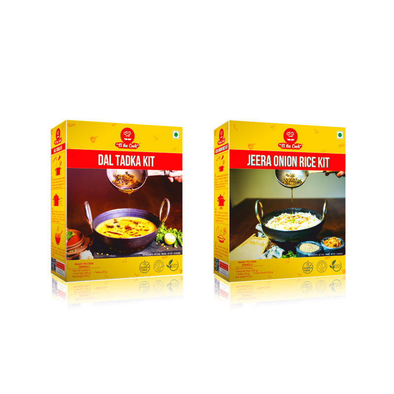 Indian lunch meal – Dal and rice using EL The Cook Combo kit (Tadka Masala). Shipped worldwide. Buy Online. Fast, simple Vegetarian Cooking Recipes