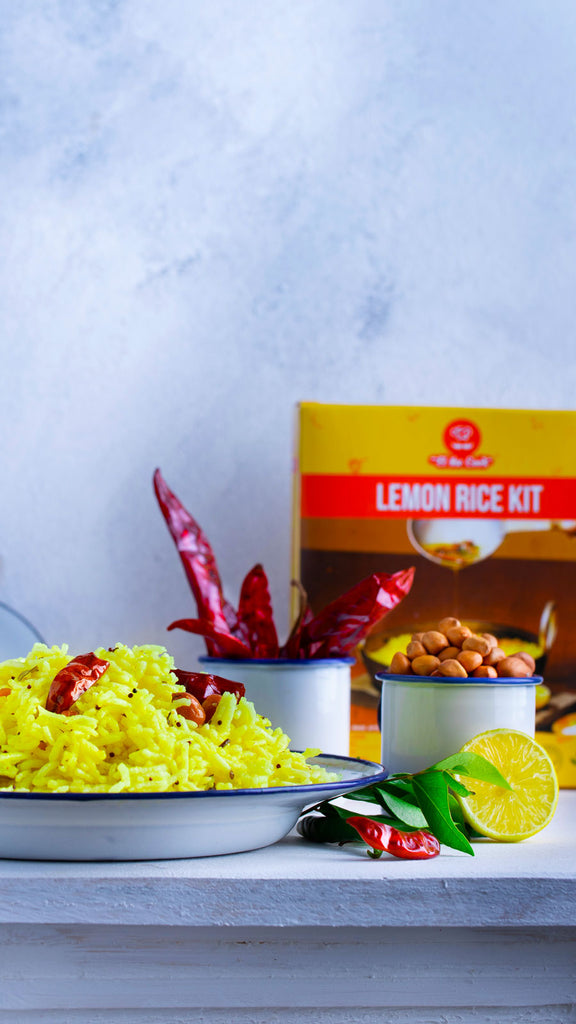 elthecook Lemon Rice, Chitrana, Yellow Rice, Basmati Rice recipe meal kit, Vegetarian Indian Cooking, Healthy, Natural, Buy Online, Shipped worldwide el the cook