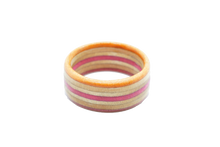 "Load image into Gallery viewer, ""Corona del Mar"" Board Ring - Pink/Orange/Tan Bands"