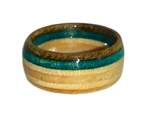 "Load image into Gallery viewer, ""Outer Banks"" Board Ring - Blue/Dark Brown Bands - Wide"