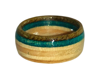 """Outer Banks"" Board Ring - Blue/Dark Brown Bands - Wide"