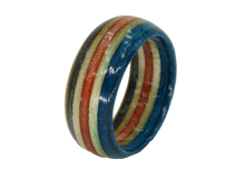"Load image into Gallery viewer, ""San Clemente"" Board Ring - Red/White/Blue/Yellow Bands"